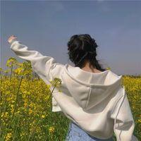 Con cremallera Otoño de primavera de las mujeres sudadera con bolsillos top corto ajustado chaqueta de las mujeres ropa mujer cordón blanco sexy de algodón con capucha abrigos