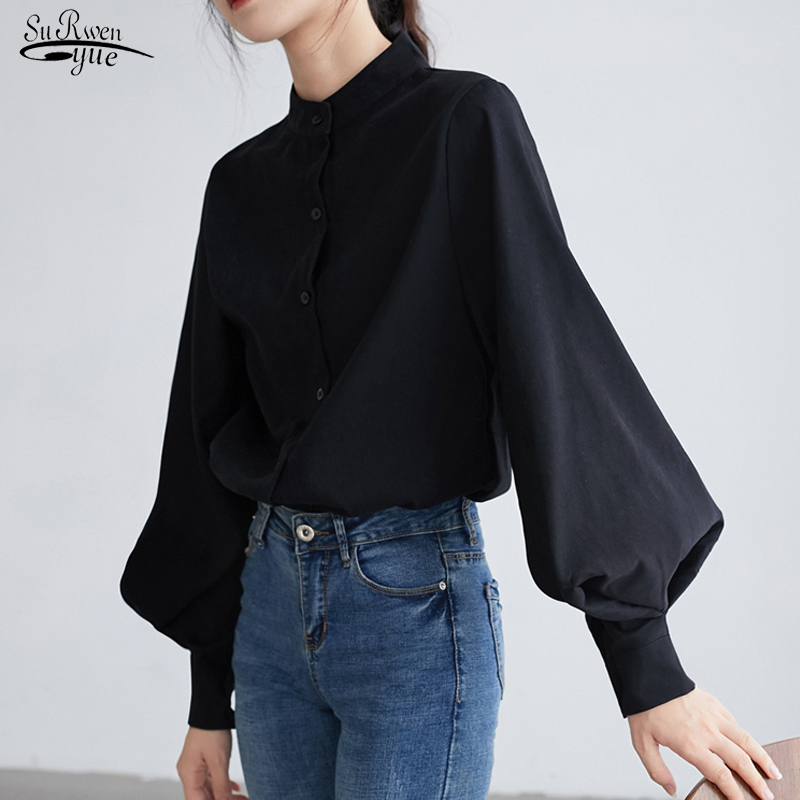 Blusas Mujer Fashion Women Shirt Lantern Long Sleeve Women Shirts Solid Stand Collar Blouse Womens Tops And Blouses 2516 50