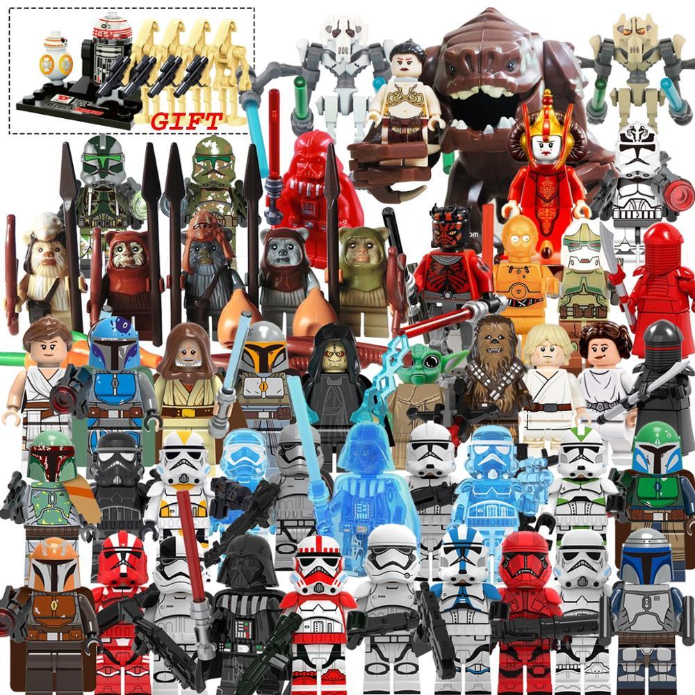 Star Wars Set Mandalorian Luke Leia  Darth Vader Maul Sith Malgus Han Ewok Yoda Legoing Starwars  Building Blocks Toys For Kids