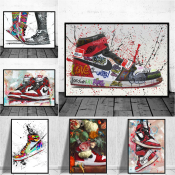 Fashion Sneakers Graffiti Art Printed on Canvas 1