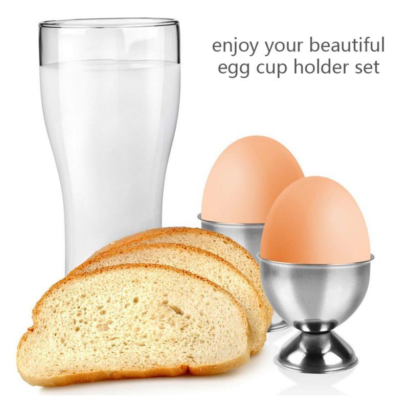 Egg Base 2Pack Stainless Steel Egg Holder Soft Boiled Egg Stand Tabletop Kitchen Tool Practical for Breakfast Brunch