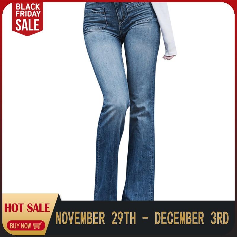 High Waist Jeans Women Autumn Elastic Plus Size Jean Femme Loose Denim Pocket Casual Boot Cut Pant Skinny Jeans Woman C0401