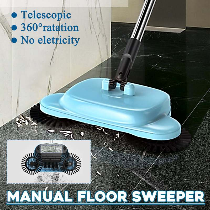Hand Push Sweepers Sweeping Machine Push Type Stainless Steel Hand Push Magic Broom Sweepers Dustpan Household Cleaning Tools