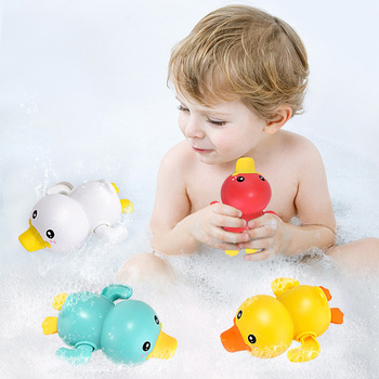 Baby Bath Toy Duck Clockwork Water Toy Bathtub Swimming Pool Bath Toy Baby Water Toy  Chain Clockwork Kids Beach Bath Toys baby bath toy cute cartoon light music sprinkler water splash ball kids baby bath pool toy led light funny toy