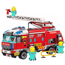 ENLIGHTEN 2019 City Police Firefighter Ladder Fire Truck Car Train Firemen Building Blocks Sets Kids Toys Compatible 810pcs city fire station blocks car firemen building blocks compatible city enlighten assembly bricks toys for children