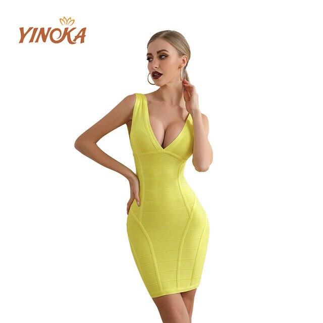Yinoka 2020 bandage dresses bodycon vestidos v neck yellow red pink party midi sex night clubwear celebrity evening luxury dress 2