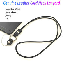 High Quality Cowhide Cord Genuine Leather Neck strap for mobile phone key work card holder neck lanyard straps keys keychain