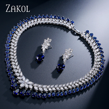 ZAKOL femmes élégantes et de luxe goutte deau forme CZ zircone boucles doreilles collier ensemble de bijoux de mariage FSSP110