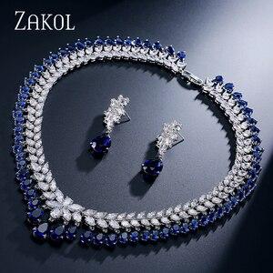 Image 1 - ZAKOL femmes élégantes et de luxe goutte deau forme CZ zircone boucles doreilles collier ensemble de bijoux de mariage FSSP110