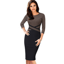 Vfemage Women Vintage Elegant Colorblock Contrast Color Patchwork Wear to Work vestidos Business Party Office Bodycon Dress 1998(China)