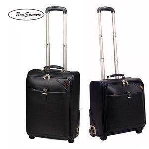 Image 1 - BeaSumore мужской деловой багаж из натуральной кожи, 20/24 дюйма, ретро чемоданы на колесах из воловьей кожи, 16 дюймовая тележка с паролем для салона