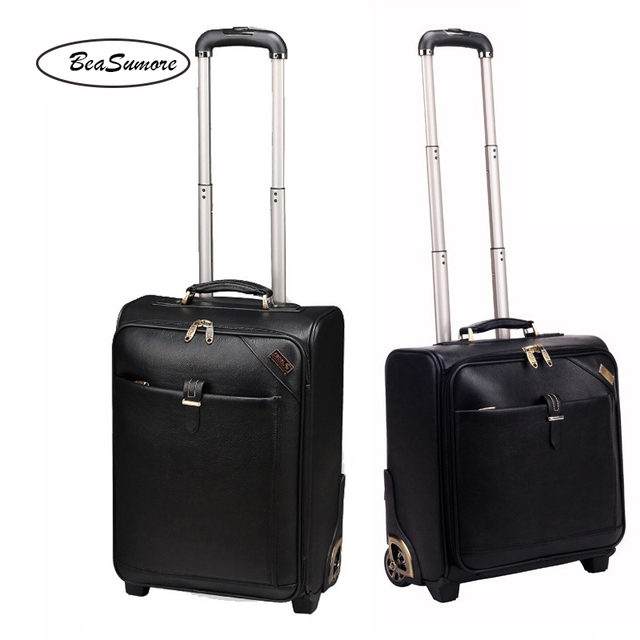 BeaSumore Men Business Genuine Leather Rolling Luggage 20/24 inch Retro Cowhide Wheel Suitcases 16 inch Cabin password Trolley