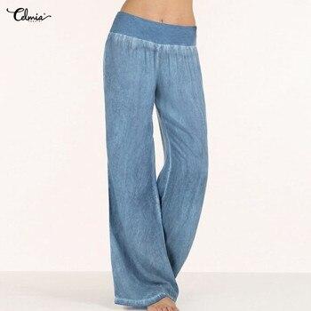 Grande taille Celmia femmes Denim large jambe Pantalon jean élastique taille haute Pantalon femmes vêtements pantalons décontracté Pantalon Palazzo