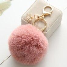 23 cores venda quente trinket fofo pele de coelho artificial bola chaveiro pompons chaveiro saco do carro das mulheres jóias eh343