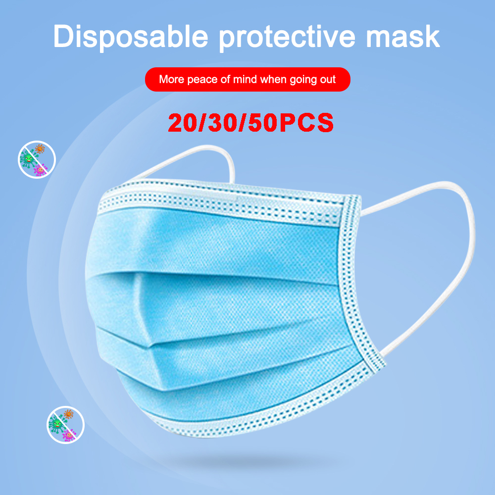 20/30/50PCS Anti-virus Disposable Masks Daily Mask 3-Plyer Anti-Dust Nonwoven Elastic Earloop Mouth Face Masks Hot Sale