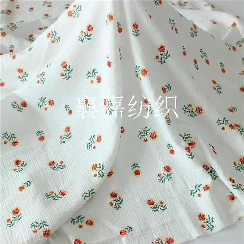 135cm X 50cm alta calidad suave doble crepé erizo textura tela floral de algodón, hacer ropa, vestido, ropa interior, tela