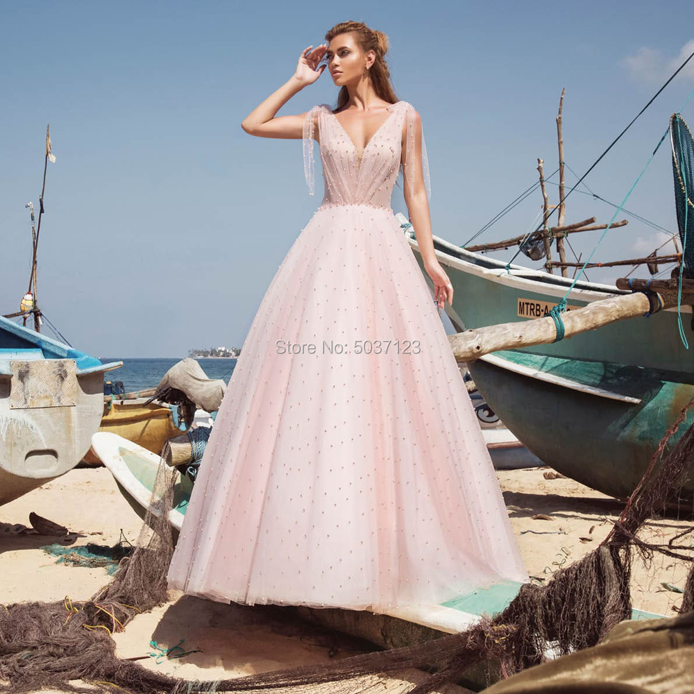 Light Pink Wedding Dresses A Line Beading Sleeveless Bridal Wedding Gowns Backless Floor Length Deep V Neck Vestido De Noiva