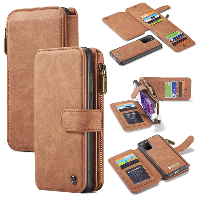 Zipper Wallet Case For Samsung Galaxy S20 S20 Plus Detachable Magnetic Case for Samsung S20 Ultra 14 Card Holders Flip Case