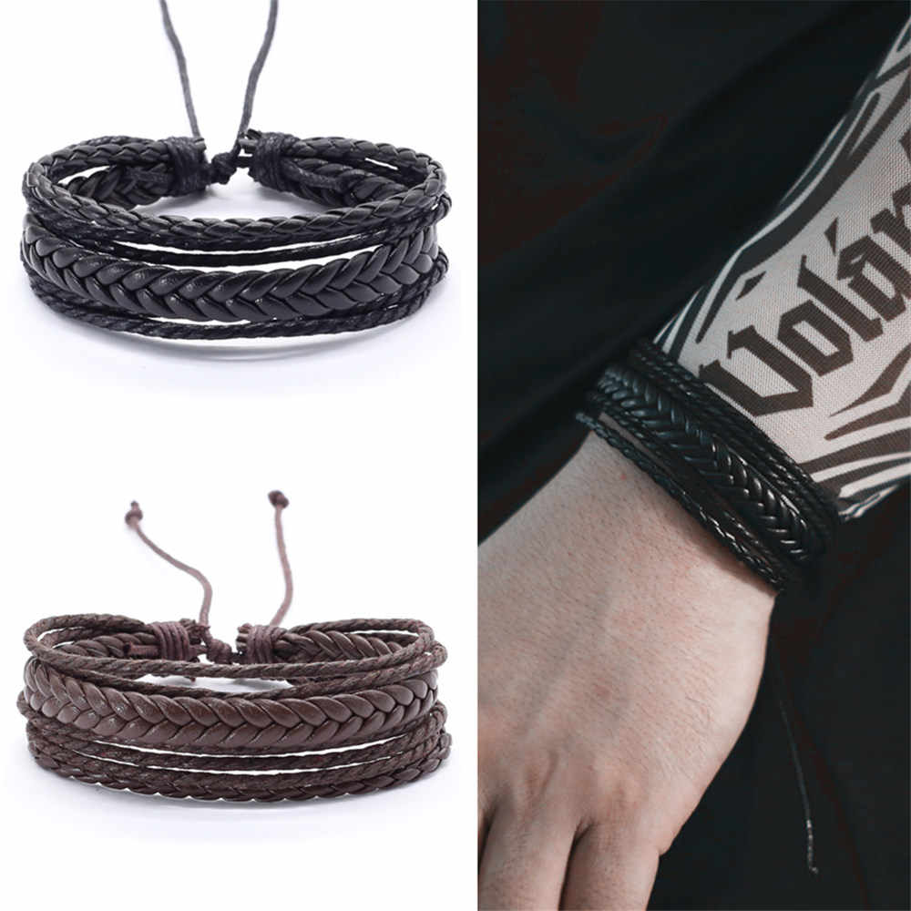 Fashion Boho Punk Weave Wrap Multilayer Leather Bracelet Men Homme Accesorios Pulseras Mujer Bracelets for women Jewelry 2019