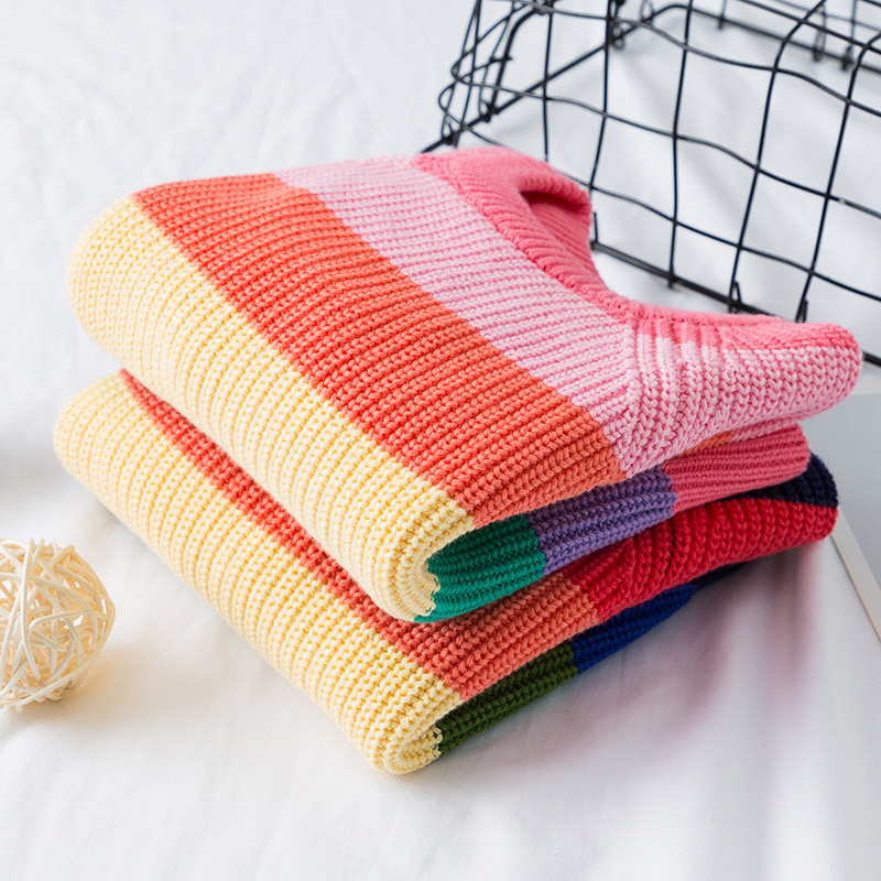 Baby Boys Girls Stripe Knitted Tops Sweater Outfits Christmas Baby Boy Winter Thick Knitted Clothes Girls Sweaters 5