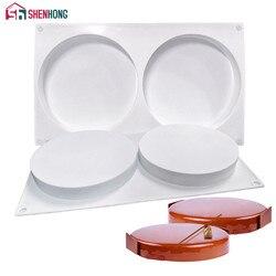 SHENHONG 2 otwory okrągłe silikonowe ciasto dekorowanie formy do pieczenia z płaską butlą formy deser mus ciasto Pan Bakewar w Formy do ciast od Dom i ogród na