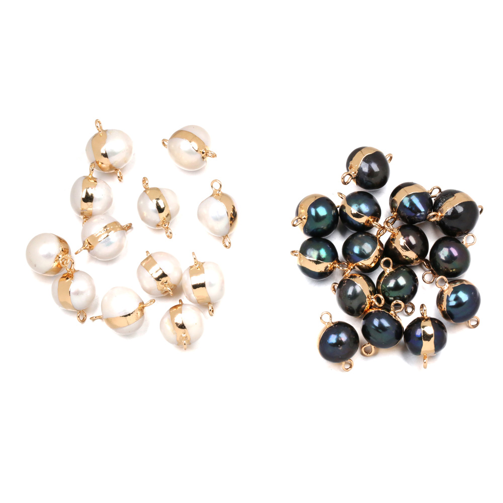 1pcs Natural Freshwater Pearl Pendant Round Double Hole Connector Pendants For Jewelry Making DIY Bracelet Necklaces Accessories