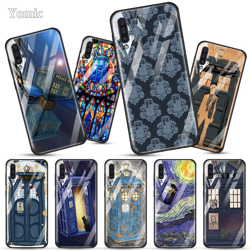 Doctor Who Retro Blue Fitted <font><b>Case</b></font> for <font><b>Samsung</b></font> Galaxy A50 A70 A51 A71 A10 A20 A30 S J6 J4 Plus A40 <font><b>M30s</b></font> Tempered <font><b>Glass</b></font> Phone Cove image