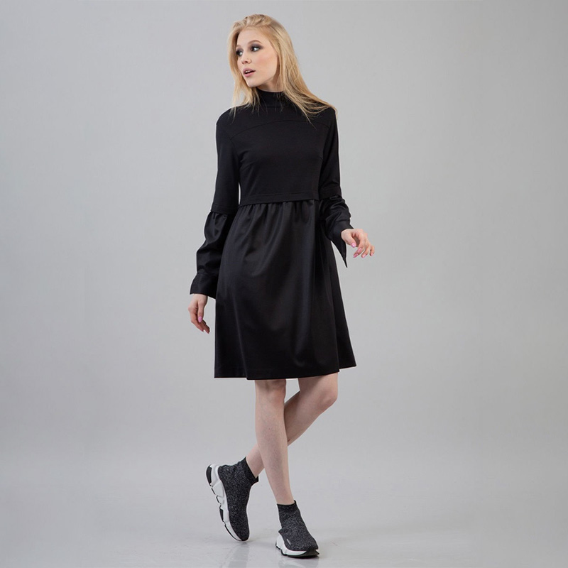 Women Pu Leather Patchwork Dress Ladies Long Sleeve Stand Collar Winter Dress 2019 New Fashion Women Knee Dress Vintage Black