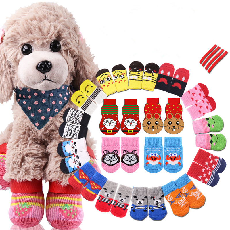 4Pcs/set Anti Slip Skid Bottom Lovely Puppy Dogs Pet Knits Socks Cute Pet Fashion Pets Dogs Socks For Cats Dog Toy Supplies
