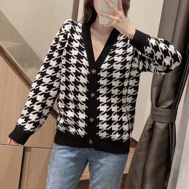 Spring Women Houndstooth Knitting Sweater Casual Female V Neck Long Sleeve Pullover Fashion Lady Loose Tops SW899 3