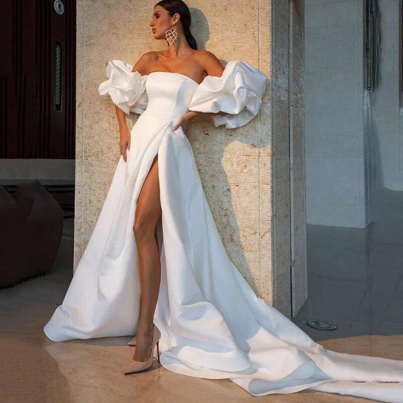 Branco sexy cetim vestidos de casamento 2021