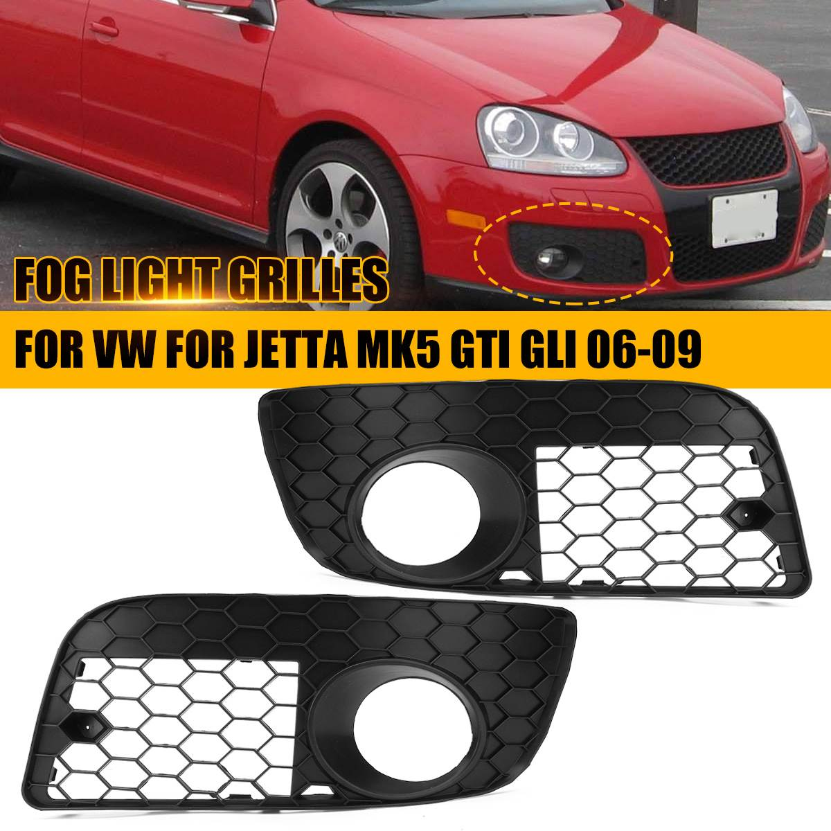 Pair Car Honeycomb Grilles Hex Mesh Fog Light Open Vent Grilles For VW for Jetta MK5 GTI GLI 2006 2007 2008 2009 Car accessories