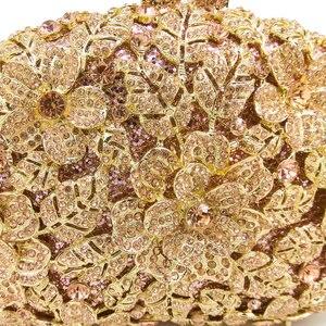 Женский Блестящий Вечерний Клатч Boutique De FGG, сумочка цвета шампанского с цветами и кристаллами, официальная сумка для обеда, сумочка для свадьбы и свадьбы