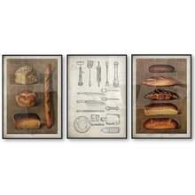 Винтажный постер для хлеба кухни пекарни выпечки ломтики иллюстрация