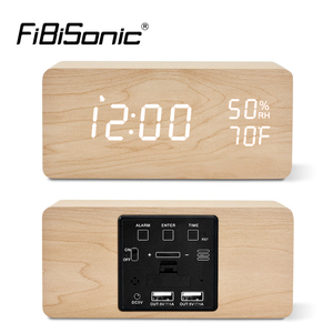 Image 1 - FiBiSonic LED Wooden Alarm Clock Sound Control Digital Alarm Clock USB/Battery Dimmer Indoor Snooze Thermometer Table Clock