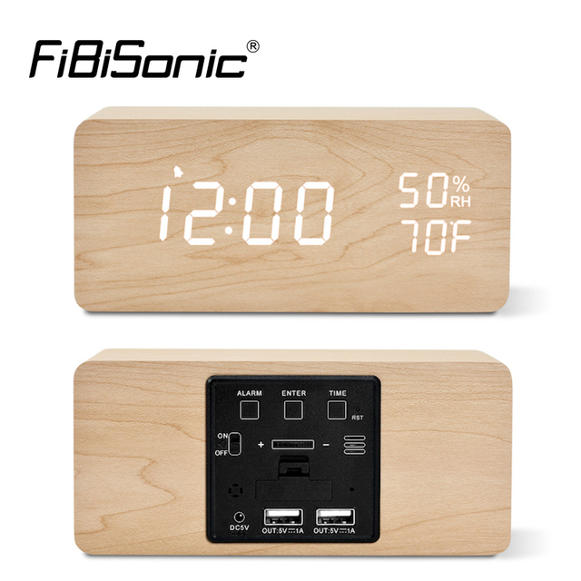 FiBiSonic LED Wooden Alarm Clock Sound Control Digital Alarm Clock USB/Battery Dimmer Indoor Snooze Thermometer Table Clock