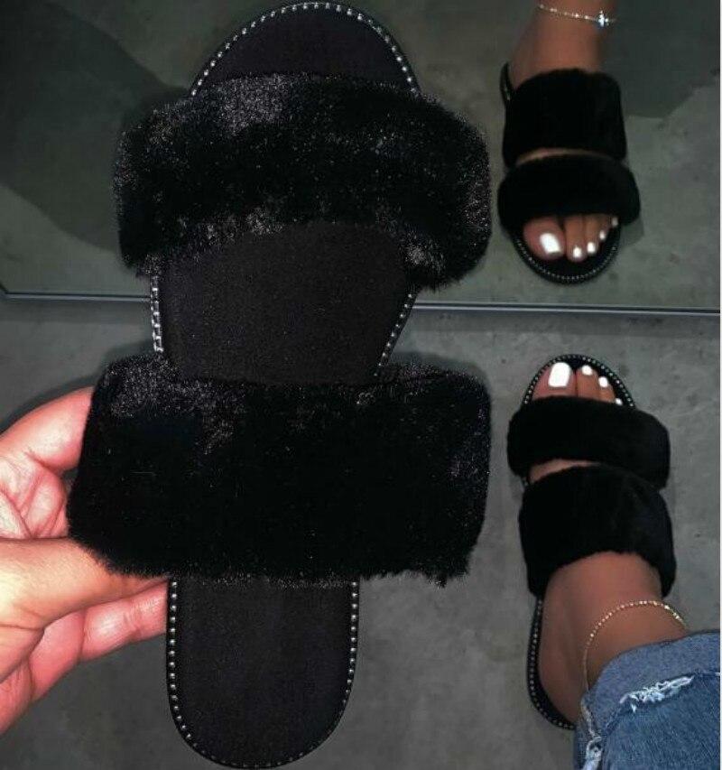 Black Durable Sandals Outdoor Wild Fashion Beach Flat Flip Flop Fox Fur Spring Summer New 2020 Blue Women Home Furry Slippers