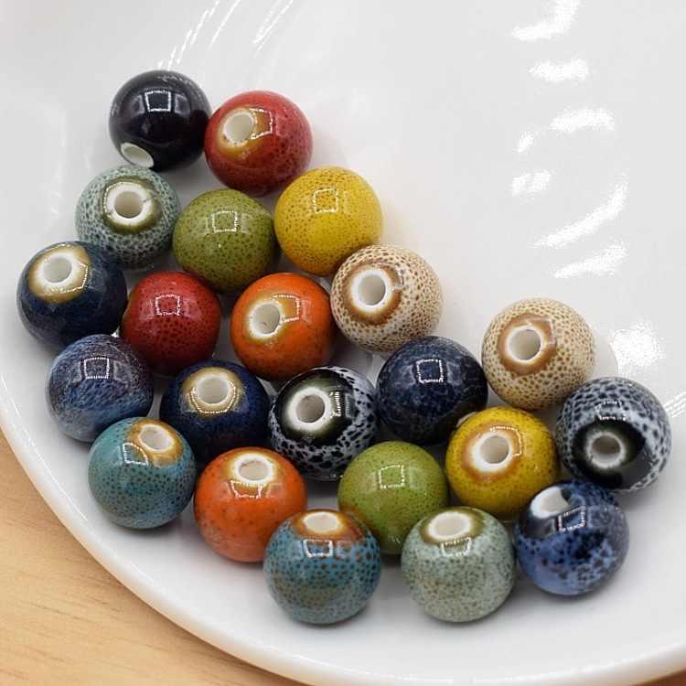 50 Stück Blume Glasur Keramikperlen Porzellanperlen für DIY Armband 10mm