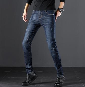 شحن مجاني أنيق تصميم شعبية عالية الجودة الرجال الجينز تمتد السراويل الطويلة