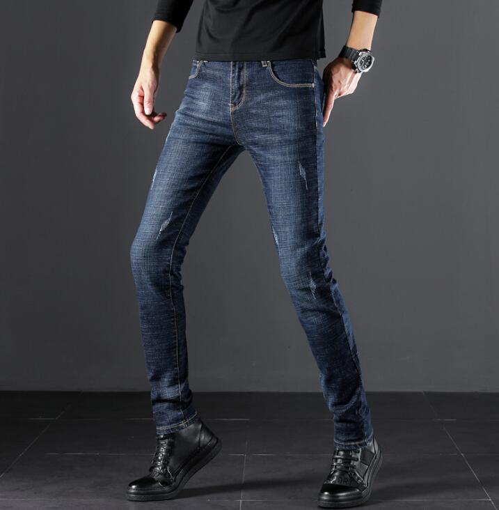 Free Shipping Stylish Popular Design High Quality Men Jeans Stretch Long Pants