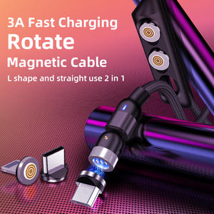 Magnet-Charger Usb-Cable Data-Transfer Type-C 540-Rotate Micro-Usb Cord 3A Support