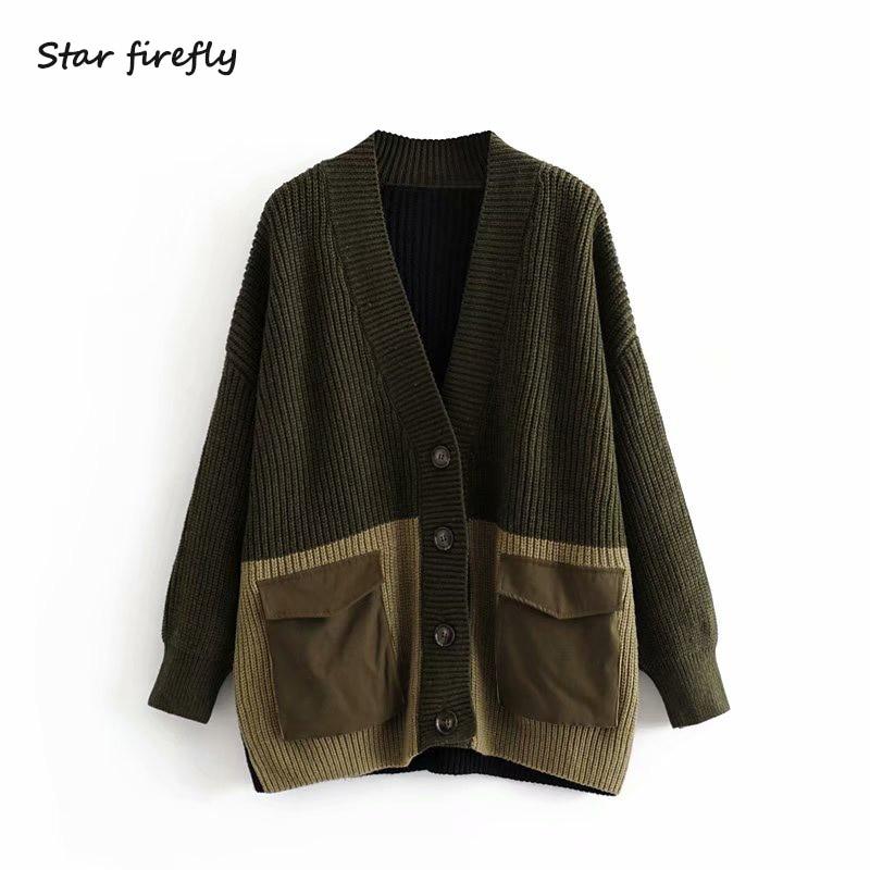 Star Firefly Fashion Za Cardigan Female 2019 Autumn And Winter Casual Loose V-neck Pocket Stitching Large Size Long Cardigan