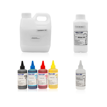 Textile Ink Set For Flatbed DTG Printer For T-shirt With White Textile Ink, Cleaning Liquid and Textile White Ink Fixing Agent