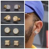 Retro Stud Ohrringe Für Männer Luxus Gold Farbe Punk Schmuck Iced Out Zirkon Hip Hop Ohr Ring frauen Zubehör großhandel OHE003