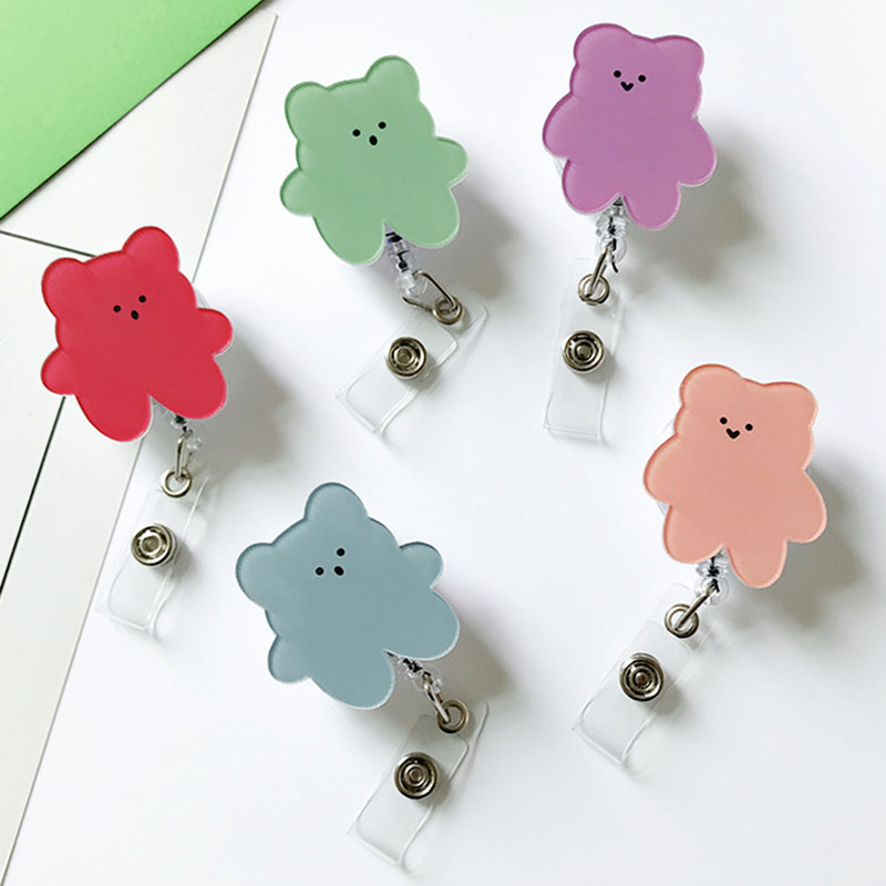 Candy Color Korea Bears Acrylic Retractable Badge Reel Nurse Doctor Student Exhibition ID Card Clips Badge Holder Stationery