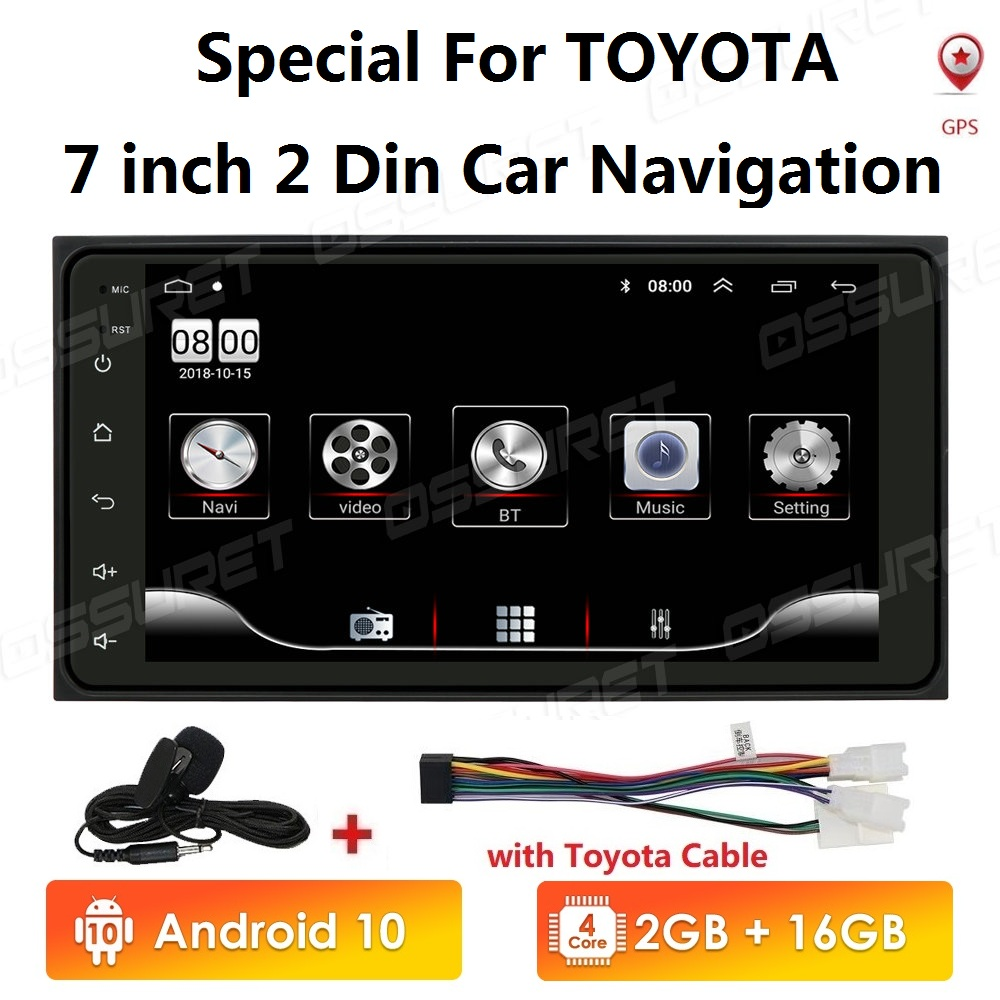 2 din android 10 Universal Car Multimedia Player Car Radio Player Stereo for Toyota VIOS CROWN CAMRY HIACE PREVIA COROLLA RAV4(China)