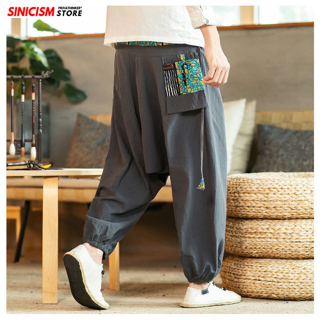 Sinicism Store Chinese Cross-Pants Men 2020 Autumn Oversize Fashion Mens Patchwork Button Pants Male Wide-legged Loose Pants 35