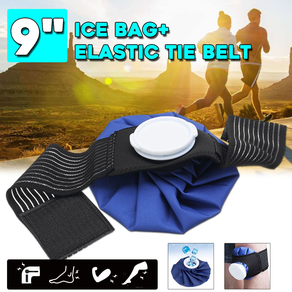 Osmond 9'' Ice Bag Pack+Protector Elastic Tie Belt Set Reusable Knee Head Leg Injury Pain Relief Ice Bag Health Care First Aid