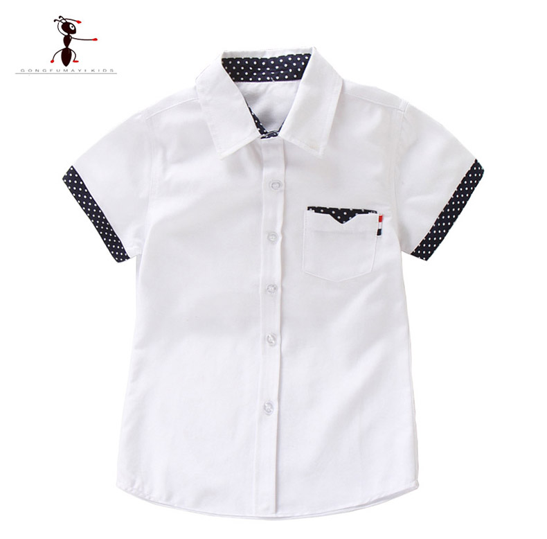 Kung Fu Ant 2019 New Summer  Short Sleeve Solid color White Boys Students Clothing Shirts Fashion Oxford Textile Cotton Kids Top