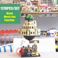 лучшая цена New MOC Series Laputa Castle In The Sky Alloy Music Box Fit Legoings Technic Idea Diy Building Blocks Bricks Kid Gift Model Toys